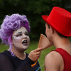"MIKE SPRINGER/Staff photo<br /> Ts Burnham, left, and Andrew Murdock are dressed up for their roles as Ursula and Sebastian with the Annisquam Village Players' upcoming production of ""The Little Mermaid"" during the 75th annual Fishtown Horribles Parade on Tuesday in Gloucester.<br /> 7/3/2018"