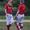 MIKE SPRINGER/Staff photo<br /> Rockport Townies pitcher Shawn Hull and catcher Caleb Tanson talk during ITL baseball action July 10 in Essex.<br /> 7/10/2018