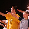 MIKE SPRINGER/Staff photo<br /> From left, 9th-grader Colby Laing, 6th-grader Matthew Smith and 8th-grader Gabe Gullett rehearse a scene in the O'Maley Academy drama camp production.<br /> 7/17/2018