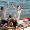 AMANDA SABGA/Staff photo<br /> <br /> Rowers on the Nina celebrates after winning men's seine boat race on Sunday at Gloucester's Pavilion Beach. <br /> <br /> 7/1/18