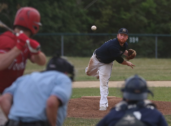 MIKE SPRINGER/Staff photo<br /> Peter Clark of the Manchester Essex Mariners pitches against a Rockport Townies batter during ITL baseball action July 10 in Essex.<br /> 7/10/2018