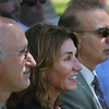 MIKE SPRINGER/Staff photo<br /> Massachusetts Lt. Gov. Karyn Polito listens during a ceremony Tuesday in Manchester announcing a $4 million dredging program to benefit coastal areas including Cape Ann. At right is Manchester Selectman Eli Boling and at left is state Rep. Lenny Mirra.<br /> 7/24/2018