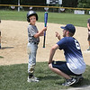 MIKE SPRINGER/Staff photo<br /> Coach A.J. Ucci talks with Sam Simoes, 8, during the Legends Baseball Youth Clinic on Wednesday at Wilson Field in Gloucester. In the background are 8-year-old Boden Stickney, left, and Jack Higgins, 8.<br /> 7/11/2018