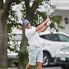 Steve Salah tees off at the opening round at Bass Rocks Club Championship, Sunday July 15, 2018. Jared Charney / Photo