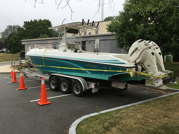 Courtesy photo/Essex police are are investigating the provenance of a high-powered motor speed boat that arrived in town with reportedly two stolen outboard engines.