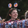 MIKE SPRINGER/Staff photo<br /> Trombonist Asha Egmont, a junior, rides in a float with the Gloucester High School Docksiders jazz band Tuesday at the start of the 75th annual Fishtown Horribles Parade in Gloucester.<br /> 7/3/2018