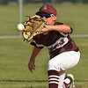 CARL RUSSO/staff photo. Gloucester's Nicholas Tarantino makes the out at second base. Gloucester vs. Ipswich in Little League baseball action. 7/5/2018