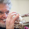 Bob Tuffey plays the trumpet with the Good Old Salty Jazz Band at the Rose Baker Senior Center. 1/9/17