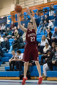 SAM GORESH/Staff photo. Gloucester freshman Marcus Montagnino shoots the ball in their game against Peabody at Peabody High School. Peabody won the game 67-42. 1/20/17
