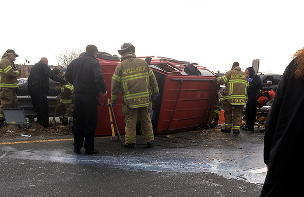 Photo courtesy of Corey Doyle<br /> Emergency personnel arrive on the scene of a rollover accident at Grant Circle on Tuesday afternoon.