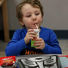 MIKE SPRINGER/Staff photo<br /> Four-year-old Jameson Militello drinks apple juice at lunchtime Friday at the Cape Ann YMCA Early Education Center in Gloucester.<br /> 01/12/2018
