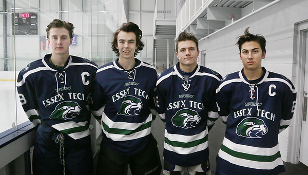 MIKE SPRINGER/Staff photo<br /> Members of the Essex Tech varsity hockey team, from left, Chris Masta, Shane Ahlin, Colin Levesque and Brandon Swaczyk.<br /> 01/08/2018