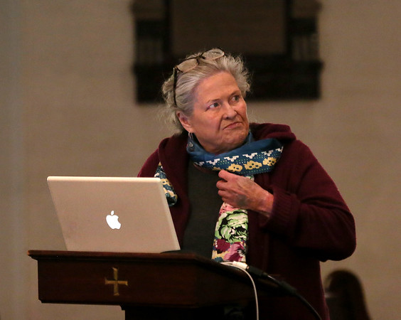 MIKE SPRINGER/Staff photo<br /> Mary Ellen Lepionka speaks about the history of the Cape Ann Algonquins after European colonization during a Martin Luther King Day celebration Monday at the Gloucester Meetinghouse.<br /> 01/15/2018