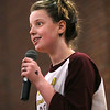 MIKE SPRINGER/Staff photo<br /> Sixth-grader Hayley Gillis sings during a rehearsal Tuesday for the third annual student talent show at O'Maley Innovation Middle School in Gloucester. The talent show will be staged on Friday at 7 p.m. in the school auditorium. Admission will be $5, with children 5 and under being admitted for free.<br /> 01/16/2018