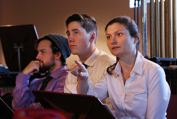 MIKE SPRINGER/Staff photo<br /> Beantown Swing Orchestra singer Cara Campanelli, right, gives feedback to student musicians as orchestra guitarist Zack Auslander, left, and pianist Alex Olsen listen Wednesday during a jazz workshop with student musicians at Rockport High School. The 18-piece Beantown Swing Orchestra will be joined by Rockport student musicians in a sold-out concert on February 7 at the Shalin Liu Performance Center.<br /> 01/24/2018