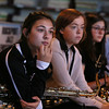 "MIKE SPRINGER/Staff photo<br /> Zoe Lucido, left, and her fellow saxophone players Jordan Fears, center, and Andraya Ortiz listen as members of the Beantown Swing Orchestra critique their playing during a jazz workshop Wednesday at Rockport High School. This is the third year that members of the Boston-based big band and its director have worked with the Rockport students. Principal Amy Rose said the young musicians crave feedback from professionals. ""They look forward to it,"" she said, ""because they really want to get better.""<br /> 01/24/2018"
