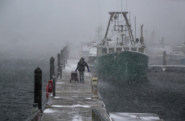 "MIKE SPRINGER/Staff photo<br /> Peter Marshall of Essex pulls an electrical generator down the dock at the Jodrey State Fish Pier in Gloucester after checking on his scalloping boat, the Venture, during Thursday's snowstorm. ""It's a little nerve-wracking when everything you own is tied to a dock during a storm,"" Marshall said. While checking on the boat, he decided to bring the generator home in case there was an electrical outage there.<br /> 01/04/2018"