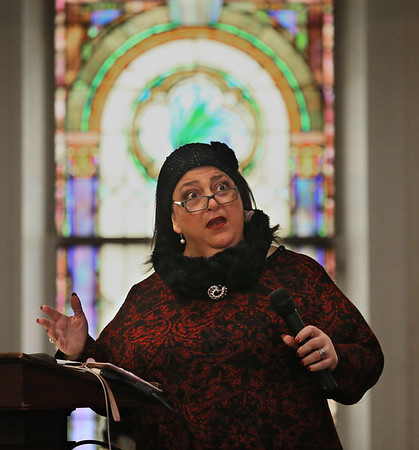 MIKE SPRINGER/Staff photo<br /> Gloucester mayor Sefatia Romeo Theken speaks during a Martin Luther King Day celebration Monday at the Gloucester Meetinghouse.<br /> 01/15/2018