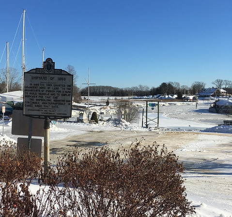 "ANDREA HOLBROOK/Staff photo/A tercentenary sign sits at the entrance of Essex's Town Landing  off Main Street. The  town gave the ""Shipyard of 1968"" to the residents ""of Ipswich to build vessels and employ workmen to that end."" It has been a shipyard ever since."
