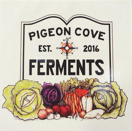 TIM JEAN/Staff photo<br /> <br /> Logo of Pigeon Cove Ferments in Gloucester .   1/29/19