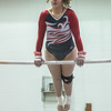 AMANDA SABGA/Staff photo<br /> <br /> Gloucester High School's Martina Gallo on the bars during a gymnastics meet at Essex Technical School. <br /> <br /> 1/30/19