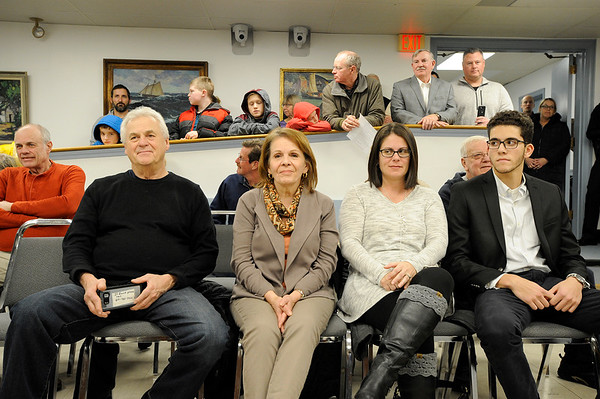 Friends and family gathered to watch during a selectman meeting where Officer Dan Mahoney was promoted to Sargent at Rockport Town Hall on Tuesday January 8, 2019.  Photo by Joseph PREZIOSO