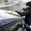 Diana Daly cleans ice off of her car in Rockport on Monday MLK Day January 21, 2019.  Photo by Joseph PREZIOSO [[MER1901211341060907]]