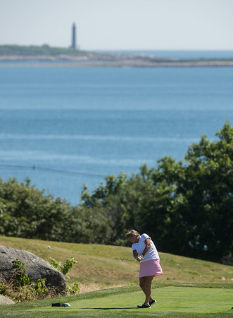 Desi Smith Photo.    Katey Stone tee's off on a par 3 hole 8 in the Bass Rocks Club Championship Sunday morning at Bass Rocks.    July 24,2016