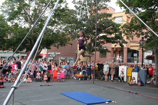 Vincenzo Dimino/Photo <br /> Sophia Thurau-Gray of Circus Up performs during the downtown Block Party.