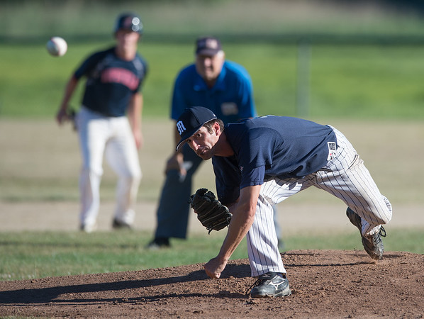 Desi Smith photo.   M/E Mariners pitcher Rusty Tucker throws against Topsfield Tuesday afternoon at Memorial Field in Essex. July 19,2016.