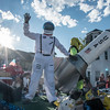 Desi Smith Photo.    Gorton's of Gloucester had a float the was out of this world with a astronaut and alien as they enter Western Ave from Centenial Ave in the Fishtown Horribles Parade Sunday afternoon.     July 3,2016