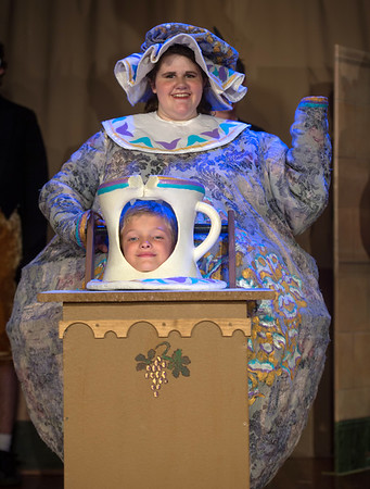 Desi Smith Photo.   Mrs. Potts (Kaiti Maddox) and Chip (Charlie Rousmaniere act out a scene in Beauty and the Beast during a dress rehearsal Thursday night at Annisquam Village Hall.  Performances start August 9-14, 2016  @ 7:30 pm at the Annisquam Village Hall at 34 Leonard Street, Gloucester.   Aug 4,2016