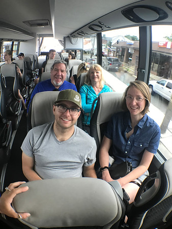 MARY MARKOS/Staff photo<br /> Taking the shuttle bus from Boston toG loucester were, front, Sam Balter and Philana Brown of Somerville, and to Rockport, rear, Ed Cohen and Jo Ann Askey of San Diego.