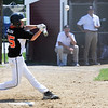 TIM JEAN/Staff photo<br /> Beverly's Casey Bellew hits for a home run against Gloucester during the District 15 Williamsport Little League Baseball Tournament game. Gloucester defeated Beverly 10-8. 7/1/17
