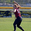 RYAN HUTTON/ Staff photo<br /> Gloucester's Whitney Good readies a throw after fielding the ball in the outfield in the top of the third inning of Wednesday's home tournament game against Burlington.