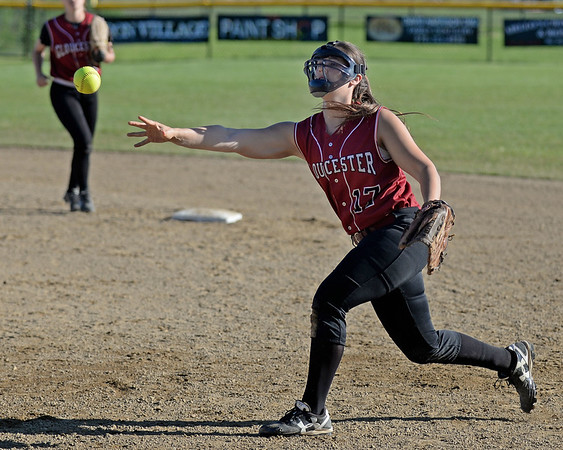 RYAN HUTTON/ Staff photo<br /> Gloucester's Taylor Abbott makes the throw to first after fielding the ball in the top of the fifth inning of Wednesday's home tournament game against Burlington.