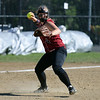 RYAN HUTTON/ Staff photo<br /> Gloucester's Marissa Orlando readies the throw to first after fielding the ball in the top of the second inning of Wednesday's home tournament game against Burlington.