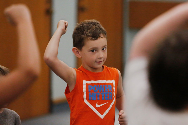 MIKE SPRINGER/Staff photo<br /> Six-year-old Colton Riley takes part in an introductory karate lesson Tuesday at the Sawyer Free Library in Gloucester. The class was presented by Uechi Ryu Karate of Gloucester.<br /> 6/16/2019
