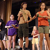 "TIM JEAN/Staff photo<br /> <br /> Performing from left to right are AJ Porcello, as the Chief,  Clara Del Vecchio, as West Wind, Elijah Sarrouf, as Rain, and Aurelia Harrison as Sutatwnee perform on stage during a rehearsal for ""The First People"" by the O'Maley Academy Drama Camp students at the O'Maley Innovation Middle School Auditorium.    7/17/19"