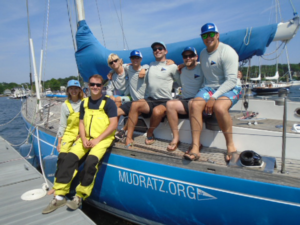 CAROLYN ENOS/Staff photo/Members of the MudRatz Racing team, based out of Stonington, Connecticut, docked with their sailboat, Dreamcatcher, at Manchester Marine on their way to a race from Marblehead to Halifax, Nova Scotia, on July 7. The team, whose members range from 16 to 27 years old, will be the only all-youth team in the race.