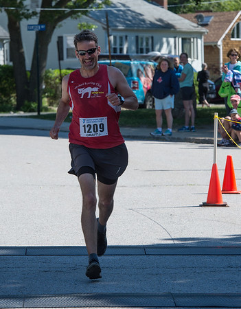 Desi Smith/Photo.     David Long of Beverly,Mass, placed first for the men in the Rockport Father's Day 5k held Sunday morning at Rockport High School.    June 19,2016