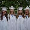 Desi Smith/Staff photo.  From left to right, Abby Guelli, Marleigh Callahan, Allie Davis and Rach Davis pose for a photo before heading in for their 2016 Graduation Ceremony held at Rockport High School Friday night.    June 3,2016