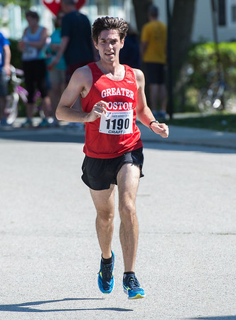 Desi Smith/Photo.   Jarret Harrigan of Ipswich heads to the finish placing first for the men in the Rockport Father's Day 10k Road Race held Sunday morning at Rockport High School.    June 19,2016