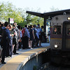 PAUL BILODEAU/Staff photo. Commuters on the platform at Salem Station in Salem Mass.