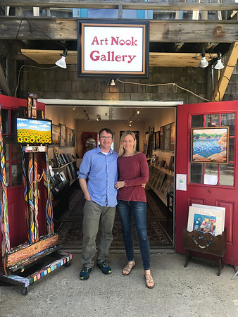 MARY MARKOS/Staff photo<br /> Stefan Mierz and Kathleen Miller are celebrating the opening of their gallery, Art Nook at 58 Bearskin Neck in Rockport, five agos with a public reception this Saturday from 4 to 7 p.m.