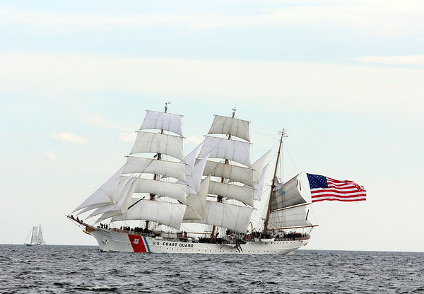 AMY SWEENEY/Staff photo. The Eagle, whose home port is New London Conn. sails with the other tall ships off the coast of Cape Ann.  The Schooner Thomas E. Lannon took a sail out to watch the start of the Rendez-Vous 2017 Tall Ships Regatta to Canada, off the coast of Rockport.<br /> June 22, 2017
