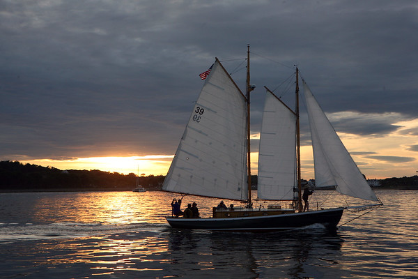 AMY SWEENEY/Staff photo. The Green Dragon heads back into Glouester after an evening sail to watch the start of the Rendez-Vous 2017 Tall Ships Regatta to Canada, off the coast of Rockport.<br /> June 22, 2017