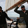 AMY SWEENEY/Staff photo. First mate Zach Dahlme and Captain Heath Ellis head back to Gloucester after the Schooner Thomas E. Lannon took a sail out to watch the start of the Rendez-Vous 2017 Tall Ships Regatta to Canada, off the coast of Rockport.<br /> June 22, 2017