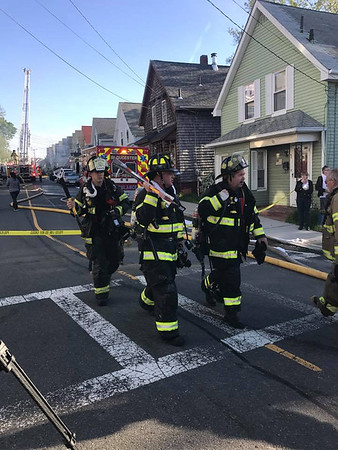 MARY MARKOS/Staff photo/Fire trucks from surrounding towns including Essex, Beverly, and Hamilton are on scene.