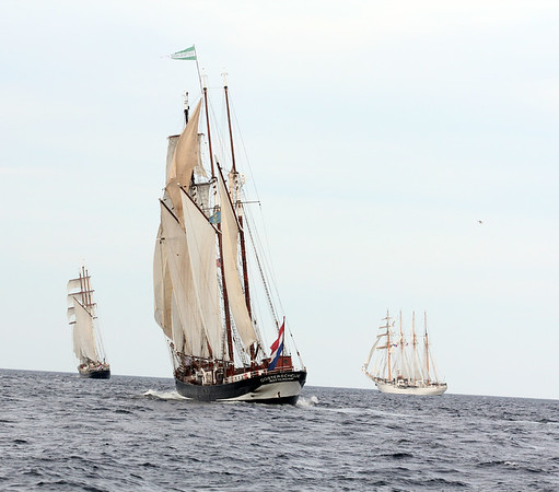 AMY SWEENEY/Staff photo. The tall ship Oosterschelde<br /> from  The Netherlands  sails off the coast of Cape Ann before the start of the Rendez-Vous 2017 Tall Ships Regatta to Canada. June 22, 2017